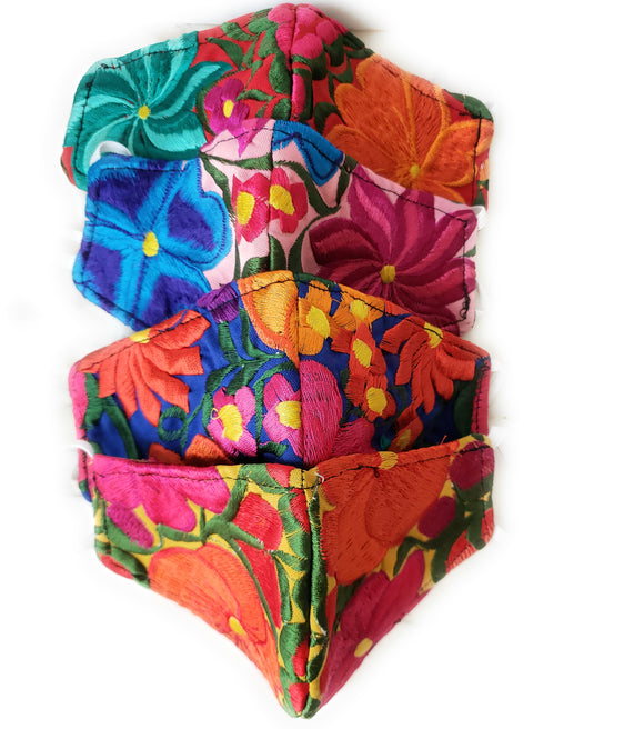 Mexican Floral Embroidered Face Mask from Oaxaca