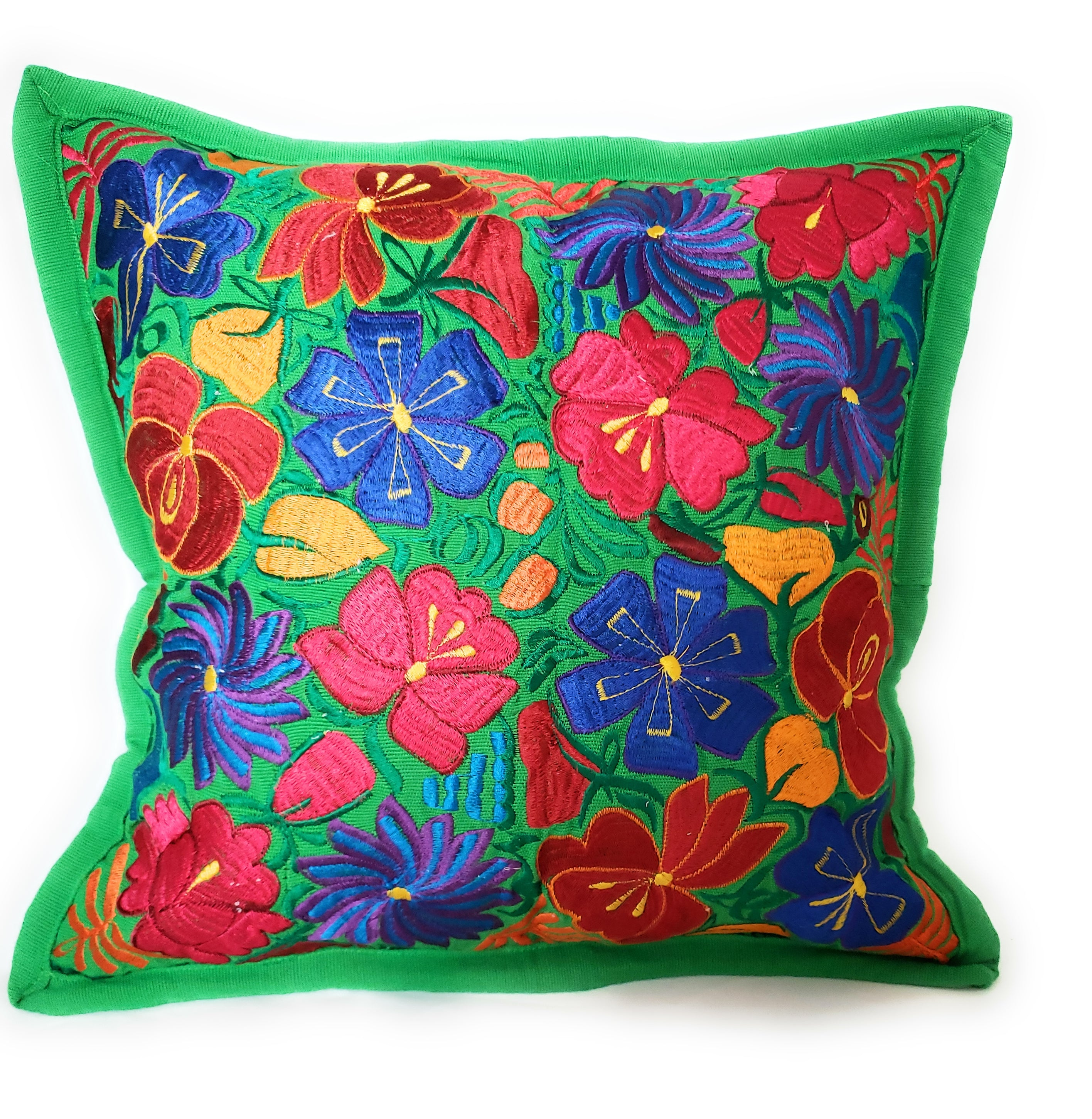 Mexican Embroidered Pillow Case Floral Cover Cushion 100 Cotton Assorted Colors