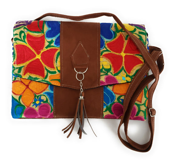Mexican Embroidered Floral Purse Shoulder Crossbody