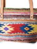 Zapotec Wool  Large Shoulder Tote Bag with Leather Strap