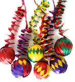 Set of 6 Mexican Palm Leaf Handmade Weaved Spheres Christmas Ornaments