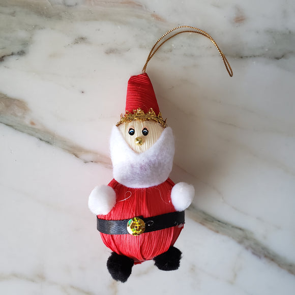 Mexican Corn Husk Santa Handmade Weaved Christmas Ornaments