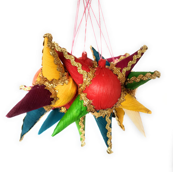 Mexican Colorful Pinata Corn Husk Ornament