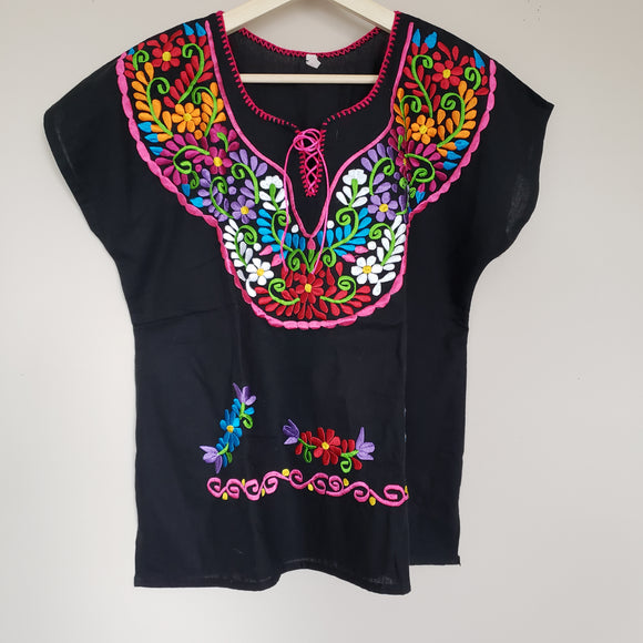 Mexican Floral Embroidered Top Shirt