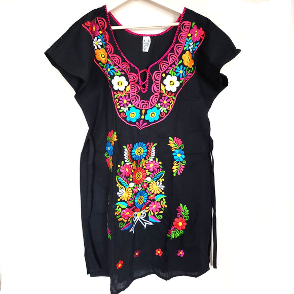 Colorful Hand Embroidered Floral Mexican Dress Size Large