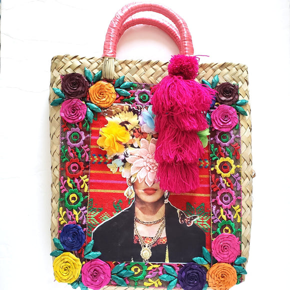 Frida Kahlo Handwoven Palm Tote Bag With Tassel