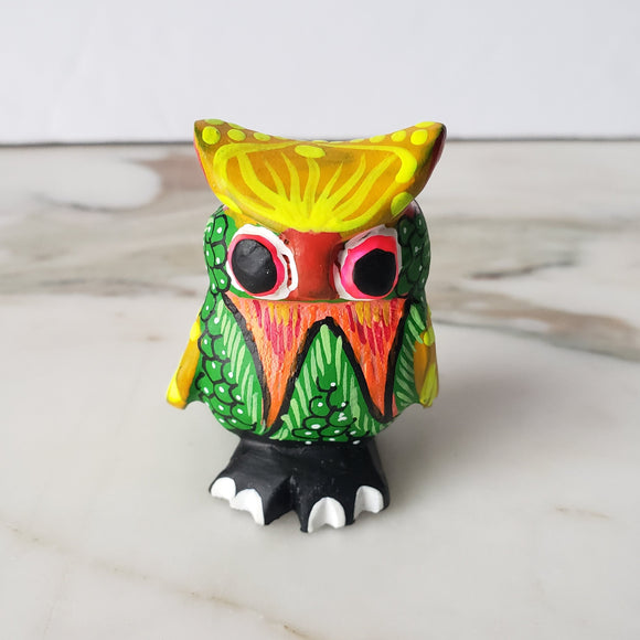 Cute Alebrije Owl Mini Wood Carving Oaxaca Hand Painted
