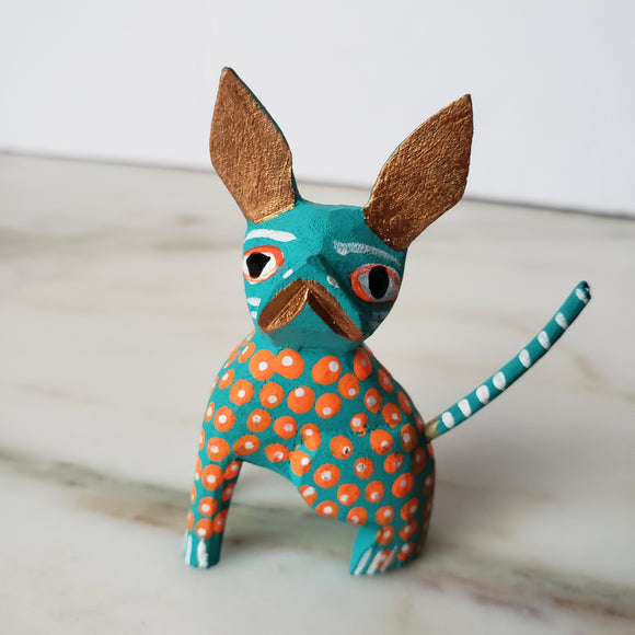 Mexican Little Chihuahua Dog Alebrije Hand-Carved Oaxacan Folk Art