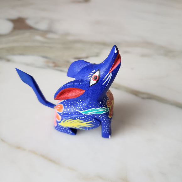 Oaxacan Alebrije Blue Coyote Wood Carving