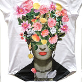 Frida Kahlo With Flowers Women's Graphic Tee T-Shirt