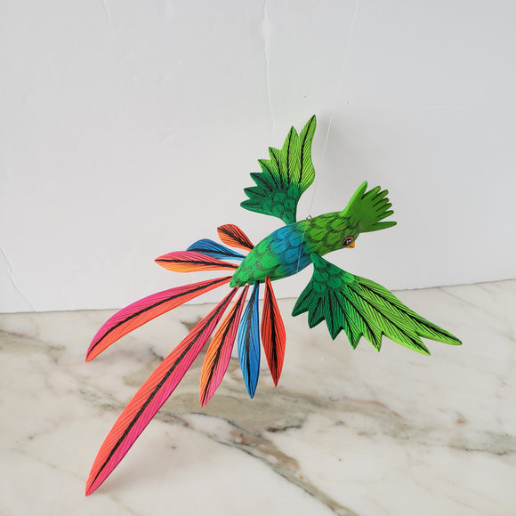 Colorful Quetzal Alebrije  Wood Carving Oaxacan Folk Art