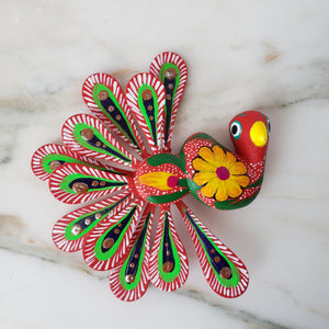 Peacock Alebrije Magnet Wood Carving Oaxacan Folk Art