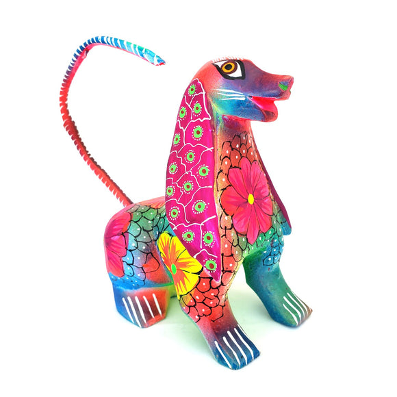 Colorful Dog Alebrije Wood Carving Folk Art Oaxaca Mexico