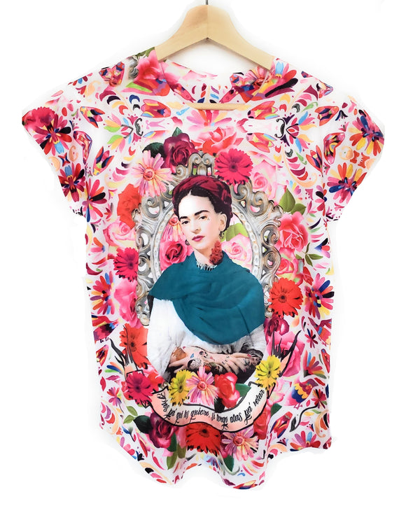 Frida Kahlo Graphic Tee Floral Otomi Mexican T-Shirt