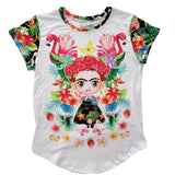 Frida Kahlo Graphic Tee Floral Mexican T-Shirt Flamingo