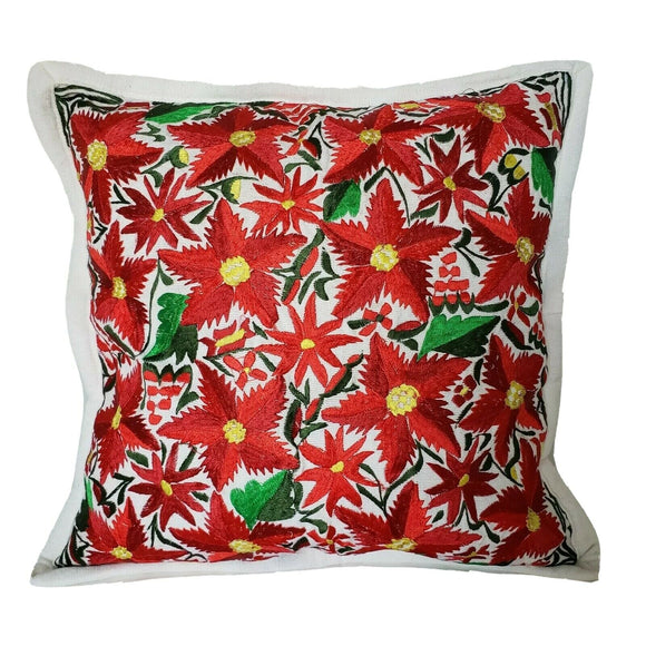 Christmas Pillow Cover Oaxaca Handmade Embroidered Poinsettia Noche Buena