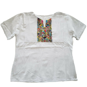 Traditional Mexican Embroidered Pleated Shirt Floral Top Blouse Handmade Oaxaca Floral - The Little Pueblo