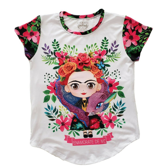 Frida Kahlo Graphic Tee Floral Mexican Alebrije T-Shirt - The Little Pueblo