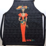 La Catrina Skull Apron Day Of The Dead Mexican Art With 2 Pockets - The Little Pueblo