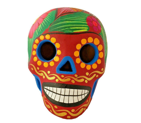 Mexican Sugar Skull Clay Colorful Hand Painted Dia De Muertos