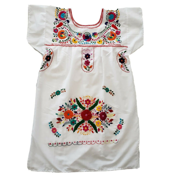 Peasant Hand Embroidered Floral Mexican Dress - The Little Pueblo