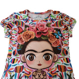 Frida Kahlo Cartoon Full Print Graphic Tee Otomi Mexican T-Shirt - The Little Pueblo