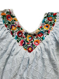 Embroidered Floral Mexican Dress with Ruffle Sleeves