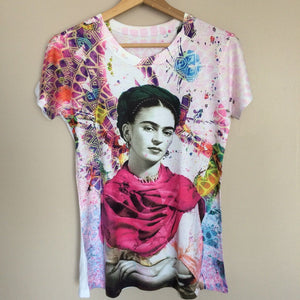 Frida Kahlo Women's Graphic Tee Mexican Geometric T-Shirt - The Little Pueblo