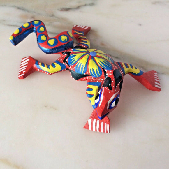 Alebrije Red Yellow Lizard Mini Wood Carving - The Little Pueblo