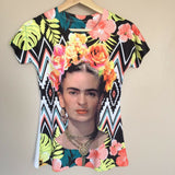 Frida Kahlo  Floral Geometric T-Shirt - The Little Pueblo
