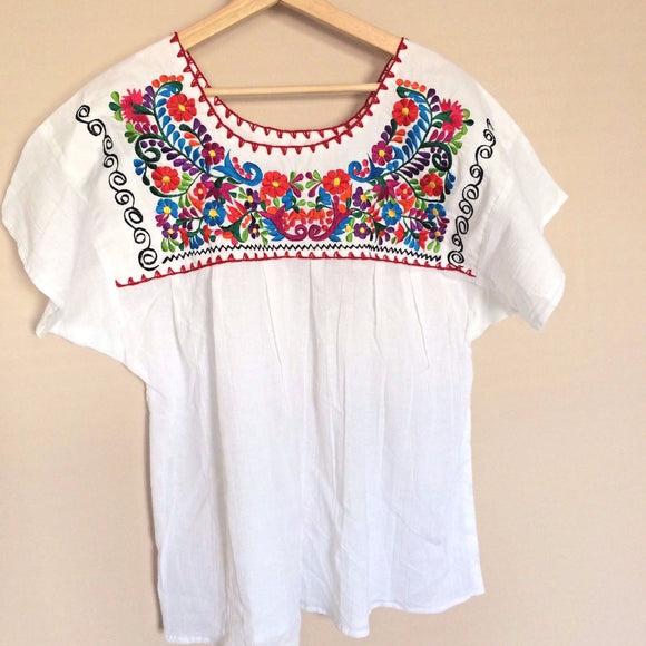 Traditional Mexican Embroidered Shirt Floral Top Blouse Handmade White Gypsy  XL - The Little Pueblo