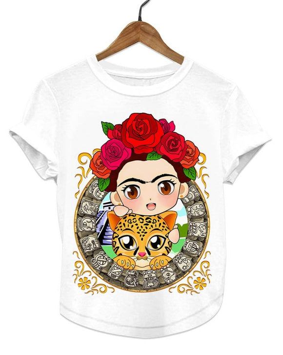 Frida Kahlo Cartoon Women's Graphic Tee T-Shirt - The Little Pueblo