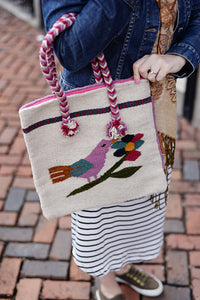 Bag - Mexican Zapotec Woven Wool Large Shoulder Bag Purse Oaxaca Handmade - The Little Pueblo