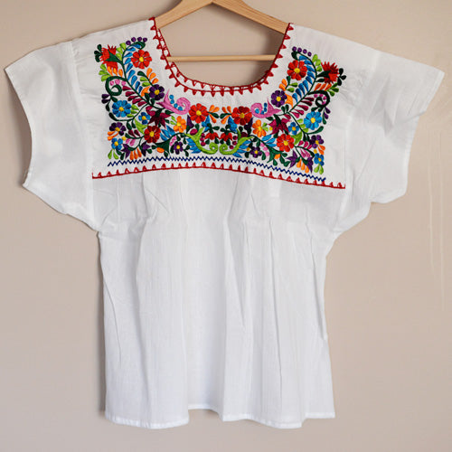 Small Light Blue Handmade Mexican Shirt  Embroidered