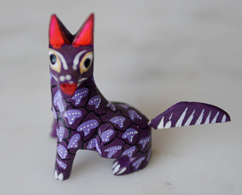 Oaxacan Alebrije Purple Wolf Mini Wood Carving Mexican Hand Painted - The Little Pueblo