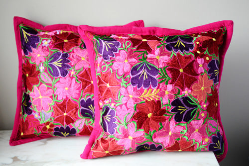 Set of 2 Mexican Pillow Covers Oaxaca Handmade Floral Embroidered Decorative Pillow Case 19