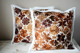 "Set of 2 Mexican Pillow Covers Oaxaca Handmade Floral Embroidered Decorative Pillow Case 19""x19"" - The Little Pueblo"
