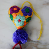 Heart - Small - Mexican Heart Embroidered Felt Ornament Decoration with Tassels - The Little Pueblo