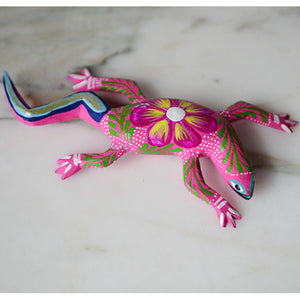 Oaxacan Alebrije Pink Lizard Mini Wood Carving Mexican Hand Painted - The Little Pueblo