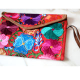 Bag - Mexican embroidered Clutch Floral  Bag Handmade - The Little Pueblo