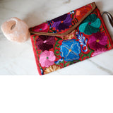 Mexican embroidered Clutch Floral  Bag Handmade - The Little Pueblo