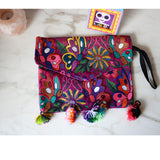 Mexican Embroidered  Clutch Bag With Tassels Handmade Colorful - The Little Pueblo