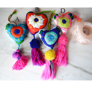 Heart - Large Mexican Ornament Felt Chiapas Handmade Flower Embroidered Colorful - The Little Pueblo