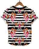 Frida Kahlo Full Print Graphic Tee Mexican T-Shirt Black Striped - The Little Pueblo