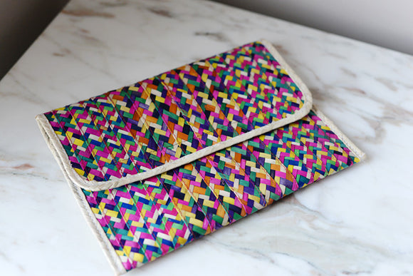 Colorful Woven Palm Clutch from Mexico - The Little Pueblo