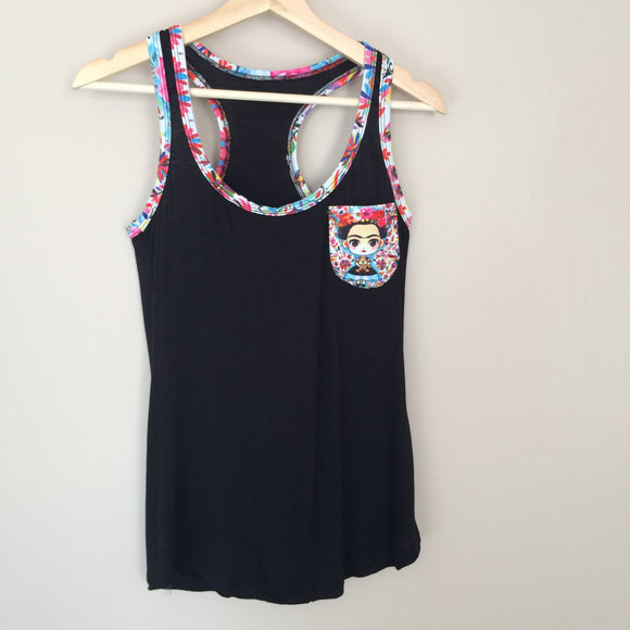 Frida Kahlo Tank Top Otomi in Black - The Little Pueblo