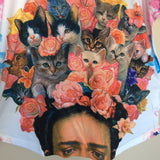 Frida Kahlo Graphic Tee Mexican T-Shirt Cats Animal Print - The Little Pueblo