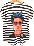Frida Kahlo Graphic Tee Mexican T-Shirt Black Striped - The Little Pueblo