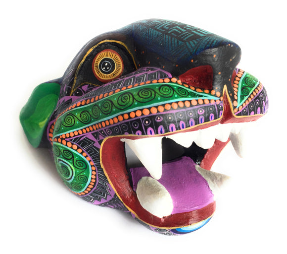 Jaguar Head Oaxacan Alebrije Wood Carving Animal Sculpture - The Little Pueblo
