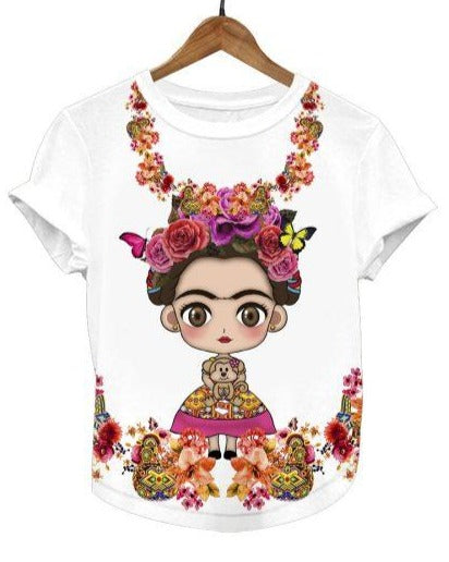 Frida Kahlo Women's Graphic Tee Floral Mexican T-Shirt - The Little Pueblo